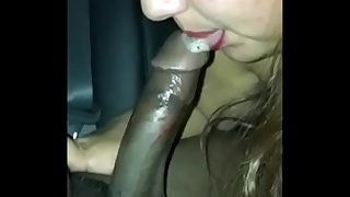 Latina BBW Deepthroats Black Shaft and Balls in backseat until it Supreme in Her Mouth