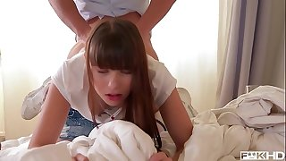 Teens Luna Opponent & Rebecca Volpetti suck & fuck Doctor's enormous hard-on