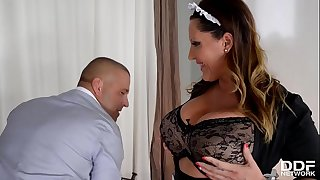 Extra buxomy maid Laura Orsolya gets her gigantic titties & ass fucked deep