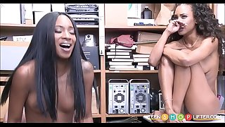 Two Youthfull Black Ebony Teenage Sisters Caught Shoplifting Threesome With Guard
