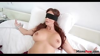 Dormitory son pounds mom's mouth when shes blindfolded!